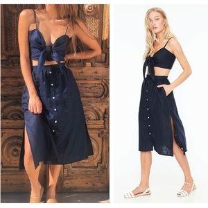 Faithfull the Brand Seine Navy Linen Midi Skirt XS
